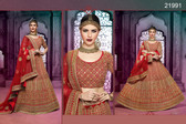 Stunningly Attractive Red Colored Silk Designer Lehenga