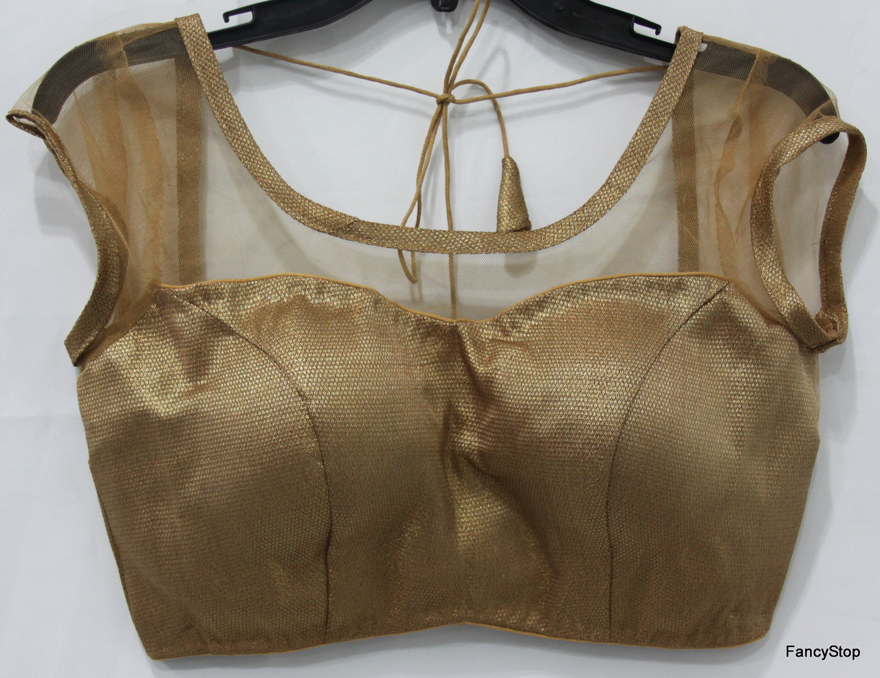503c30ea2335a9 Designer Ready-Made Padded Saree Blouse Copper Net. Loading zoom