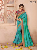 Gorgeous & Classy Blue Colored Silk Fabric Saree