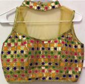 Ready-to-wear Padded Saree Blouse Choli Golden net with multicolor thread work High Neck  Design