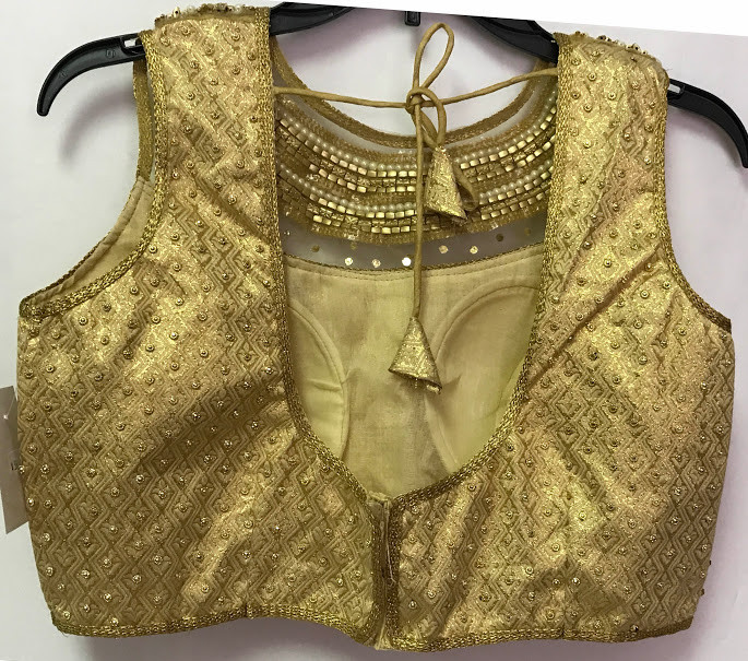 db1653d17f2a00 Saree Blouse Choli Padded Golden n Silver beaded net Designer Brocade. Loading  zoom