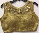 Ready-to-wear Padded Saree Blouse Choli Golden beaded net  neck Design