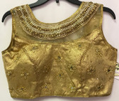 Ready-to-wear Padded Saree Blouse Choli Golden beaded net neck mirror work Design