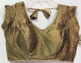 Ready-to-wear Padded Saree Blouse Choli Copper Gold Brocade Design