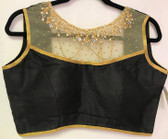 Ready-to-wear Padded Saree Blouse Choli Black Gold net Gold thread  work Design