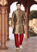 Designer Copper Marron Giccha Silk Art Dupion Readymade Sherwani D1021511549