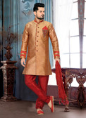Designer Copper Marron Giccha Silk Art Dupion Short Sherwani D1021511825