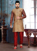 Designer Multi Color Marron Giccha Silk Art Dupion Short Sherwani D1021511828