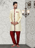 Designer Butter Cream Marron Jaquard Art Silk Sherwani D1021511853