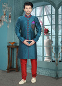 Designer Dark Blue Marron Art Silk Art Silk Sherwani D1021511856