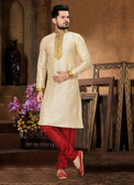 Stylish Gold  Marron Art Jaquard Art Dupion Kurta Payjama D1021511933
