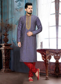 Designer Light Purple  Marron Giccha Silk Art Dupion Readymade Kurta P D1021511942