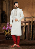 Designer Off White Marron Cotton Art Dupion Readymade Kurta Pyjama D1021511951
