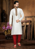 Designer Off White Marron Kela Silk Art Dupion Readymade Kurta Pyjama D1021511953