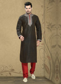 Stylish Coffee Marron Synthetic Poly Silk Kurta Pyajama D1021511957