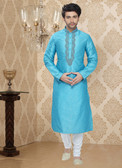 Stylish Sky Blue Off White Art Silk Poly Silk Kurta Pyajama D1021511961