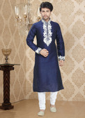 Stylish Royal Blue Off White Art Silk Poly Silk Kurta Pyajama D1021511963