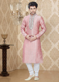 Stylish Pink Off White Art Silk Poly Silk Kurta Pyajama D1021511964