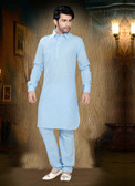 Stylish Light Blue Light Blue Cotton Cotton Kurta Pyajama D1021511974