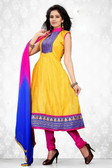 Indian Bollywood Pakistani Chanderi Salwar Kameez Suit Yellow Color