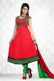 Indian Bollywood Pakistani Chanderi Salwar Kameez Suit Red Color
