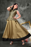 Stylish Trendy   Tafeta Silk  Banasrasi Jecard  Readymade Girl Gown D1022018398