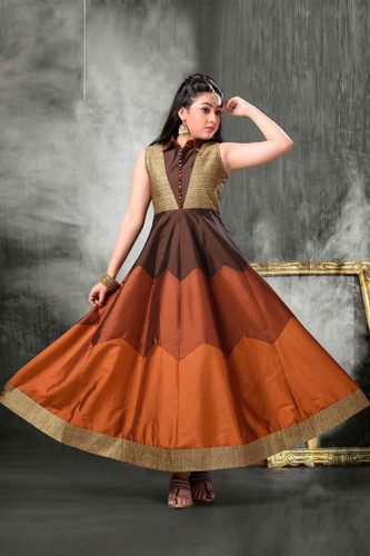 Stylish Trendy   Tafeta Silk  Banasrasi Jecard  Readymade Girl Gown D1022018392