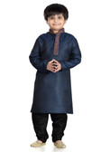 Stylish Trendy Blue Black Jaquard Art Dupion Readymade Kurta P Kurta Pajama D1022613192