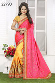 Vibrant & Gorgeous Pink And Yellow Colored Crepe Silk Saree