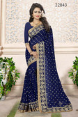 Gorgeous & Attractive Blue Colored Georgette Chic Saree