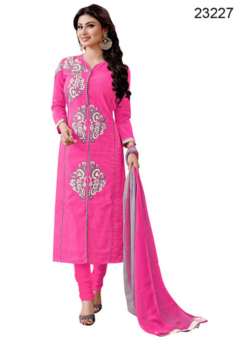Chic & Trendy Pink Colored Pure Cambric Suit