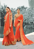 Enthralling Orange Colored Designer Hand Work Saree In Pure Viscose Zari Jacquard Georgette