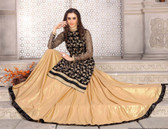Elegant & Gorgeous Black & Cream Designer Semi Stiched Premium Net Salwar Suit