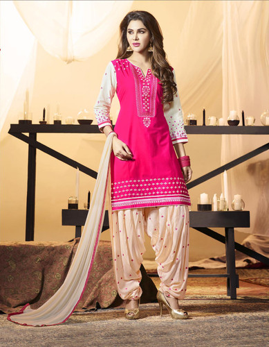 Delightfully Fascinating Pink Colored Premium Cotton Suit
