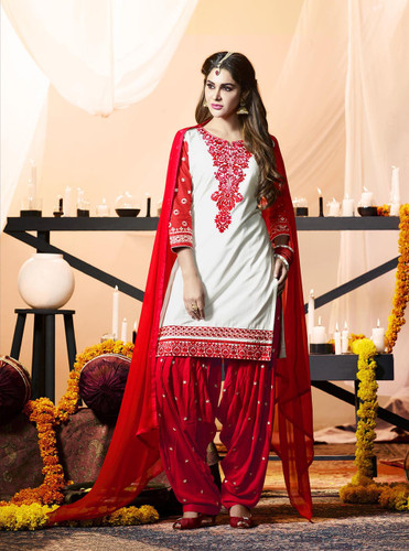 Delightfully Fascinating Off White Colored Cotton Suit