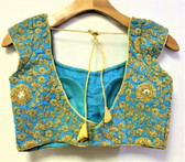 Saree Blouse Choli Dark Blue Embroidery Padded Designer Brocade 140717122