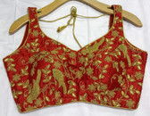 Saree Blouse Choli Red Gold Embroidery Padded  Designer Brocade 140717159