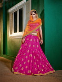 Alluring & Graceful Rani Colored Brocket Lehenga