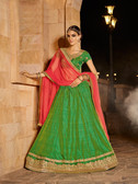 Alluring & Graceful Green Colored Banarasi Silk Lehenga