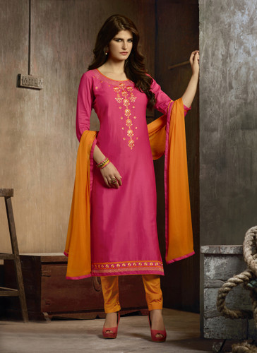Delightfully Attractive Pink Colored Cotton Suit