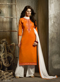 Delightfully Attractive Orange Colored Cotton Suit