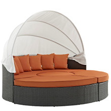 Sojourn Outdoor Patio Sunbrella Daybed, Orange, Rattan 10001
