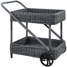 Summon Outdoor Patio Beverage Cart, Grey, Rattan 10002