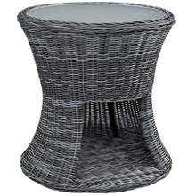 Summon Outdoor Patio Side Table, Grey, Rattan 10003