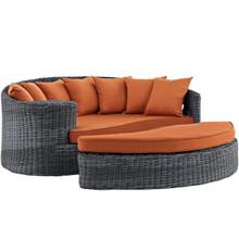 Summon Outdoor Patio Sunbrella Daybed, Orange, Rattan 10006