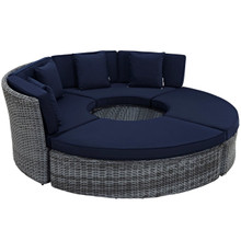 Summon Circular Outdoor Patio Sunbrella Daybed, Navy, Rattan 10011
