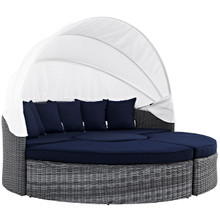 Summon Canopy Outdoor Patio Sunbrella Daybed, Navy, Rattan 10017