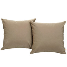 Convene Two Piece Outdoor Patio Pillow Set, Brown, Fabric 10020