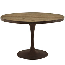 "Drive 48"" Round Wood Top Dining Table, Brown, Metal 10029"
