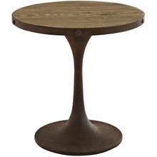 Drive Wood Top Side Table, Brown, Metal 10032